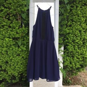 (New without tag) Navy chiffon dress